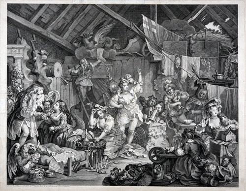 Strolling actresses dressing in a barn 1738 William Hogarth 1697-1764