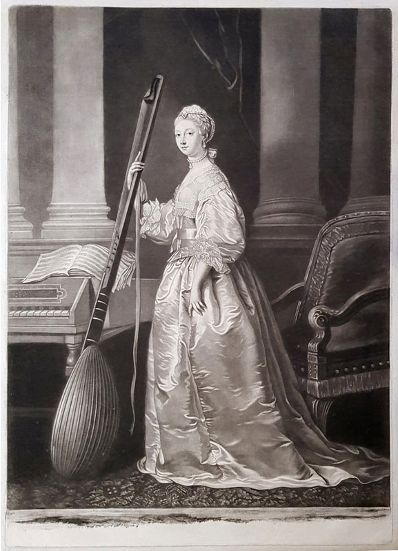 Lady Mary Campbell  holding a theorbo 1762  James Mcardell Andrew Edmunds Prints
