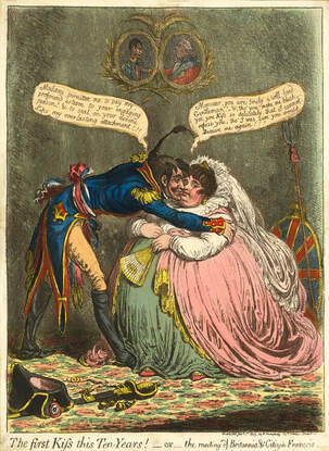 The First Kiss this Ten Years! or The meeting of Britannia & Citizen Francois   James Gillray 1803  Andrew Edmunds Prints