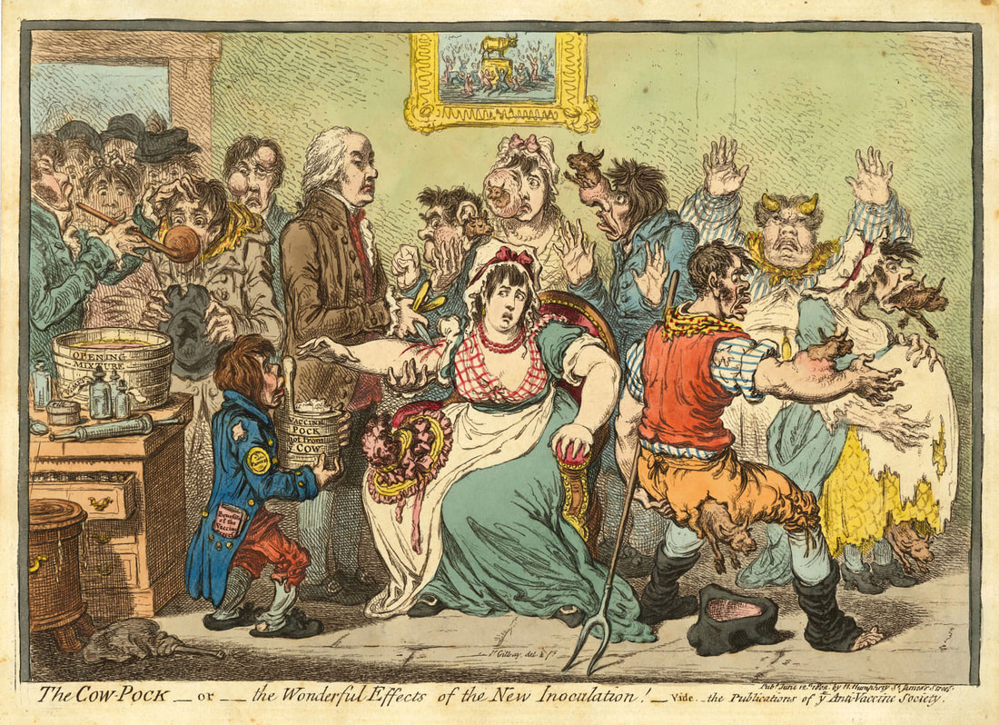 The Cow Pock  The Wonderful Effects of the New Inoculation!  James Gillray 1802    Andrew Edmunds Prints